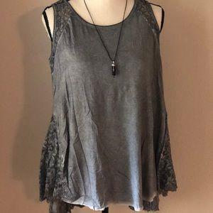 Umgee sleeveless lace embellished top